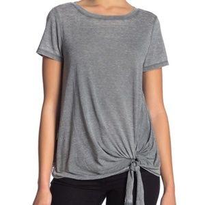SUSINA Burnout Tie Hem T-Shirt